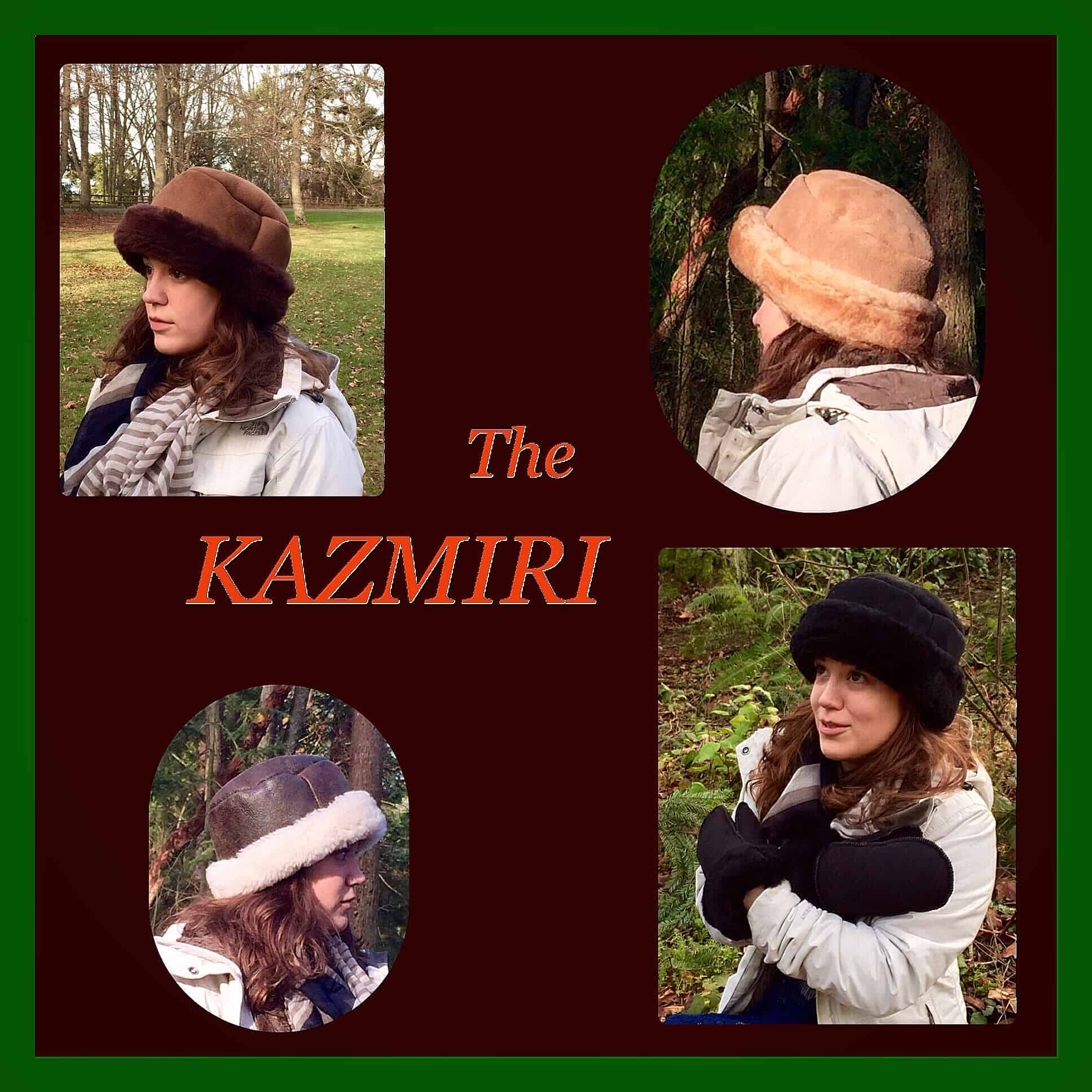 Kazmiri Sheepskin Hat - Clockwise from top-left:Chocolate, Stony, Black, Napa