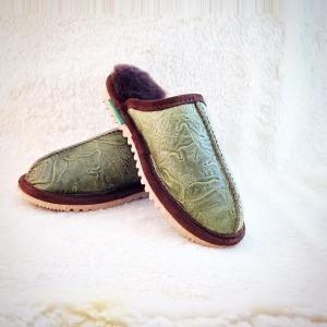 Green Traveler Sheepskin Slippers