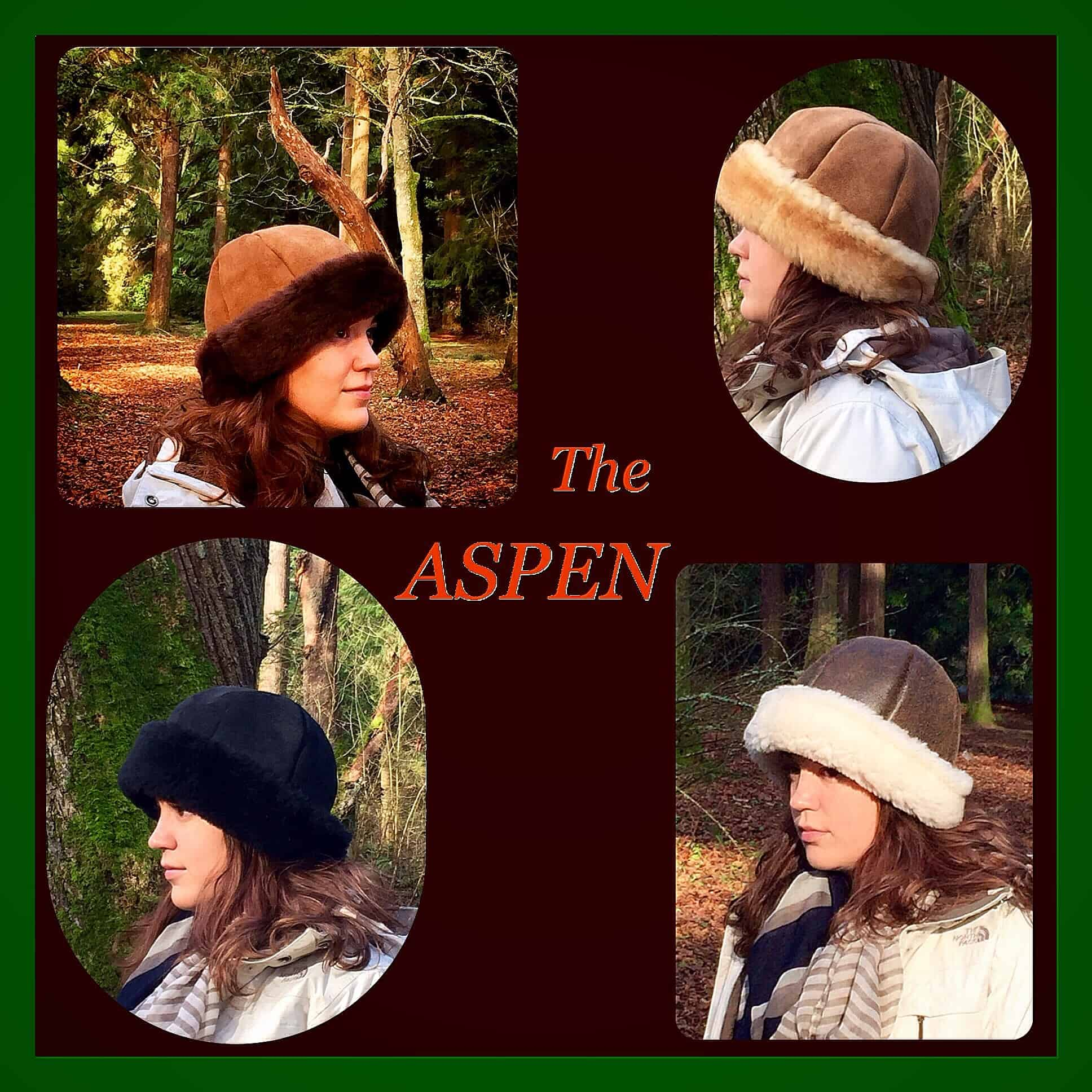 Aspen Sheepskin Hat - Clockwise from top-left: Chocolate, Stony, Napa, Black